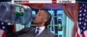 photo Al Sharpton guzzling water